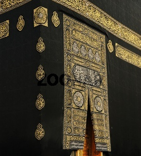 Makkah Kaaba Door with verses from the Qoran holy book in gold