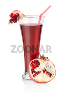 Pomegranate juice isolated on a white