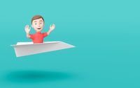 Kid 3D Cartoon Character Flying on a Paper Airplane on Blue with Copy Space