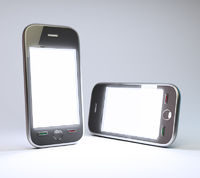 generic smartphones with a clear white screen