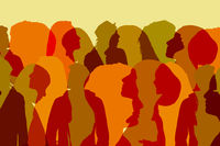group of people illustraion, silhouettes of heads