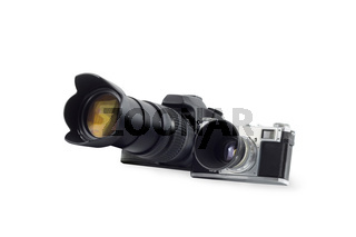 modern  retro photocamera isolated over white