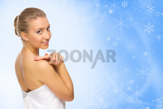 Young healthy girl on winter background