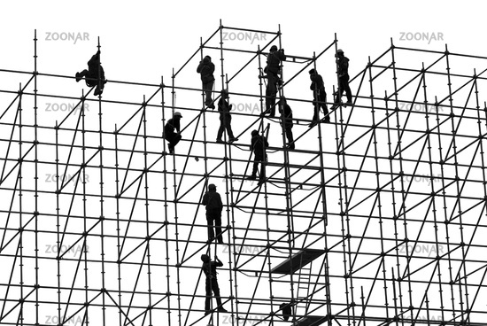 workers on a high-rise scaffolding, Hong Kong