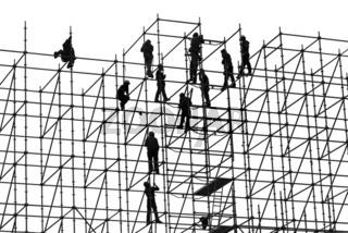 Arbeiter auf einem Hochbaugerüst, Hongkong