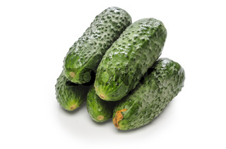cucumbers on white background with soft shadow