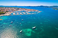 Biograd na Moru historic town and marina aerial view
