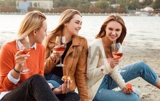 Happy young women resting during picnic