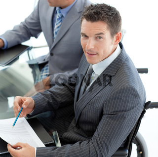 Close-up of a caucasian businessman in a wheelchair