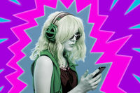 Art collage with alternative girl in glasses and with headphone listens cool music in her smartphone. Funky young woman on multicolor neon background. Concept image in contemporary pop art style.