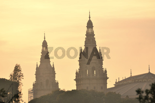evening skyline with Catalan National Art Museum - MNAC in Barcelona