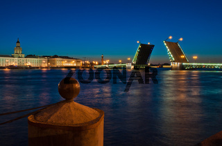 Night view of Palace Bridge, Saint Petersburg, Russia