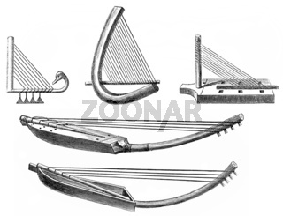 Historical drawing from the 19th Century, various shapes of harp
