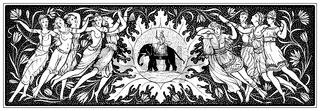 Historic drawing from the 19th Century, decorative border with h