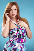 Fashionable woman in elegant dress