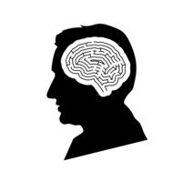 Black detailed mans face profile with maze brain in head on white