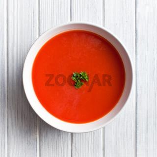 tomato soup on kitchen table