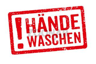 A red stamp on a white background - Wash your hands in german - Hände waschen