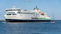 A ferry entering the harbour in Rostock, Mecklenburg-Western Pomerania, Germany