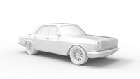 3D rendering of a vintage retro car isolated in a empty studio.