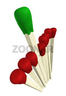 Streichholz Konzept - Grün gewinnt 2