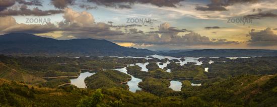 Amazing view of Ta Dung lake. Panorama landscape
