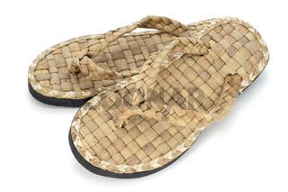 summer footwear is weaved from straw