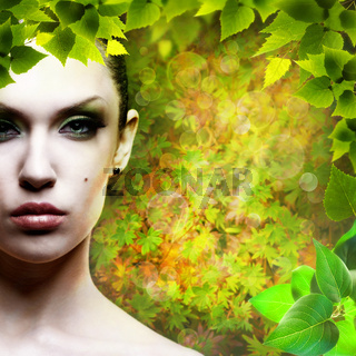 Lady Nature. Abstact natural backgrounds with beauty female portrait