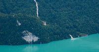 Famous travel destination Giessbach Falls, Bernese Oberland.