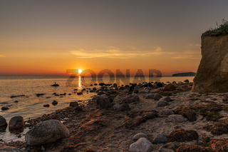 Sunset over the Baltic Sea Coast in Klein Zicker, Mecklenburg-Western Pomerania, Germany
