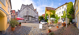 Ansbach. Old town of Ansbach beer garden and street panoramic view