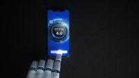 Industrie 4.0 - Humanoid Robot Hand Click Smartphone