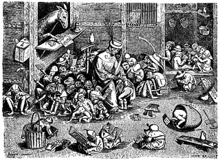 satirical depiction of a school in the 16th Century with a teacher spanking a child