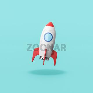 Cartoon Spaceship on Blue Background