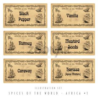 Illustration set spice labels, Africa #1