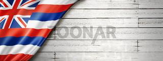 Hawaii flag on white wood wall banner, USA