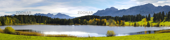 panorama landscape in bavaria with alps