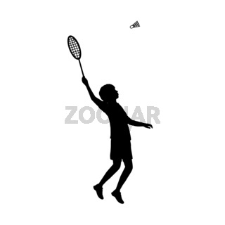 Silhouette boy playing badminton. Symbol sport.