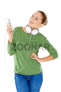 Young woman enjoying her music