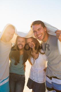 Joyful group of friends having fun together