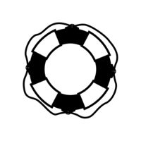 Marine lifebuoy, water safety detailed black icon on white