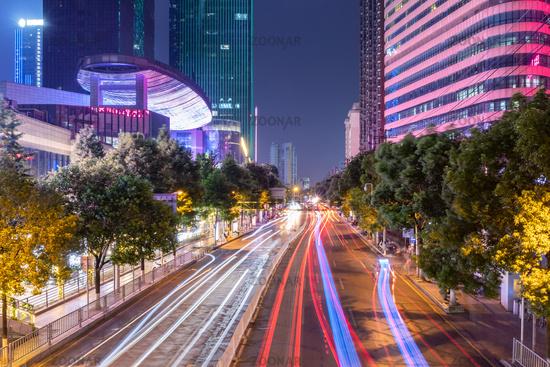 night view of the beautiful street in Changsha