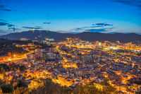 Barcelona Spain, high angle view night city skyline from Bunkers del Carmel