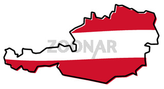 Simplified map of Austria outline, with slightly bent flag under it.