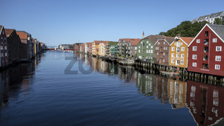 Beautiful colorful houses on river side of Nidelva, Trondheim