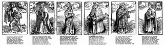 Historical illustrations of the papacy by Lucas Cranach and texts by Martin Luther from the 16th Century, 1st Scourge monk, 2nd Cardinal, 3rd Patriarch, 4th Canon, 5th Deacon, 6th Parson
