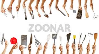 Rahmen aus vielen Küchenwerkzeugen