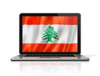 Lebanese flag on laptop screen isolated on white. 3D illustration