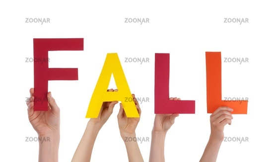 Some Hands Holding the English Word Fall