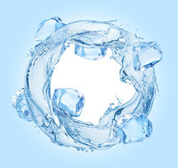 Circle water splash with ice cubes on blue background